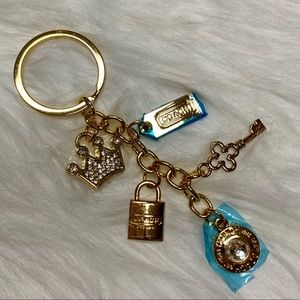 COACH GOLD PLATED ASSORTED CHARMS KEYCHAIN NWOT